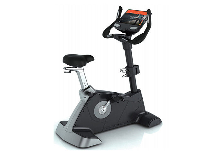 Commercial Stationary Gym Equipment , Resistance Touch Screen Upright Exercise Bike